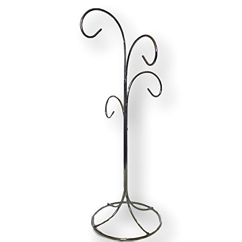 4 Arm Ornament Stand - Smooth Chrome Finish - 13
