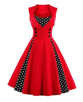 Killreal Women's Polka Dot Retro Vintage Style Cocktail Party Swing Dresses 4