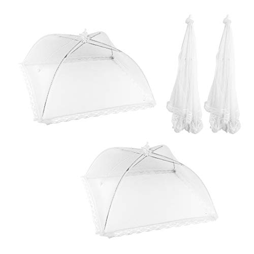 Large Pop-Up Mesh Wire Frame Screen Food Tent Plate Covers for Outdoor Picnic, Barbecue, Camping, Fruit Dinner Protection, Wedding, Birthday, Party & Event Supplies (2 Pack) ()
