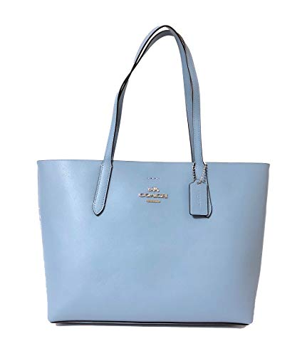 Coach F31535 Leather Avenue Tote (SV/Cornflower/Metallic Midnight)