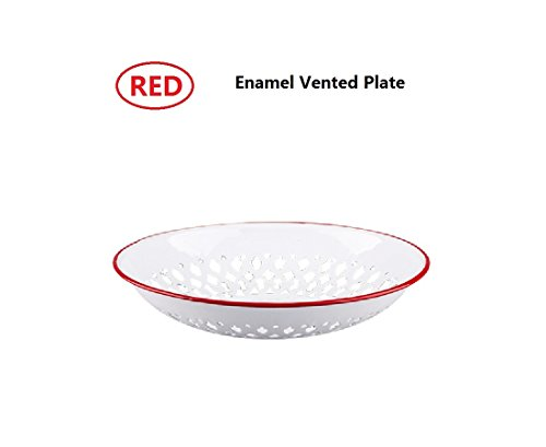 SHUEHO Vintage Look Enamel Vented Self-draining Bread Bowl Plate Rolls Fruit Bowl, Enamelware Colander Stamped Metal White, Red Edge Country Primitive Kitchen (Fruit Bread Plate)