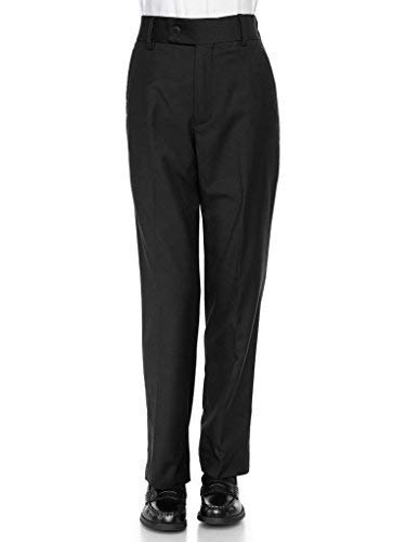 - RGM Boys Dress Pants Flat-Front Slim fit Slacks - Poly Rayon Giovanni Uomo Black 16