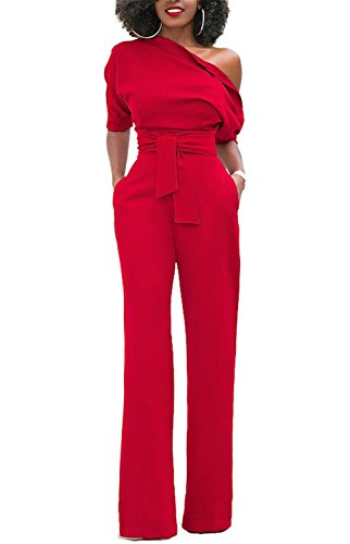 ONLYSHE Women's Jumpsuit Formal Celebrity Style One Shoulder Long Length Pants Jumpsuits Red (Celebrity Style Clothes)