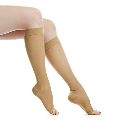 EvoNation Women's USA Made Open Toe Sheer Graduated Compression Socks 15-20 mmHg Moderate Pressure Medical Quality Ladies Knee High Toeless Support Stockings Circulation Hose (Large, Tan Nude - Toe High Support Knee