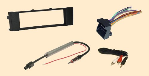 Audi A3 06 07 08 2006 2007 2008 Stereo wiring Harness, Dash Install Kit Faceplate, with FM Antenna Adaptor (Combo Complete Aftermarket Stereo Wire and Installation Kit)