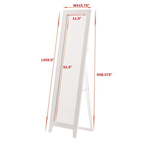 Khome white finish wood frame floor standing mirror with for Floor mirror white frame