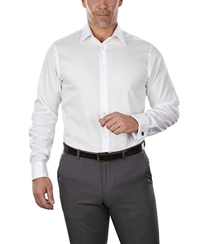 Calvin Klein Men's Dress Customize Your Own Shirt Solid, White, 16.5