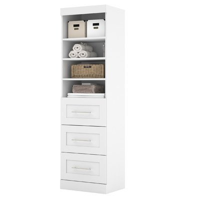 Bestar Furniture 26871 17 Pur 83 7  Tall Storage Unit Including 3 Drawers With Simple Pulls And Molding Detail In