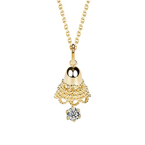 (Unique 18-karat gold fashion bell diamond pendant claw set with 0.1ct diamond neck ornament birthday gift present necklace for women)