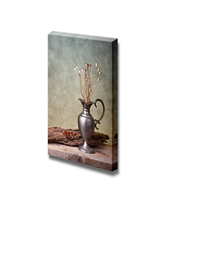 Still Life with European Peacock Butterfly and Dry Poppy Pods Wall Decor