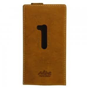 Cell Accessory Real Leather and Plastic Protective Case for Nokia 920 Brown