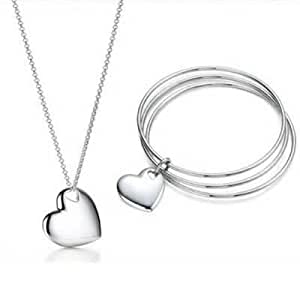Tiffany And Co Sets Double Heart Necklace And Bangle Silver 014