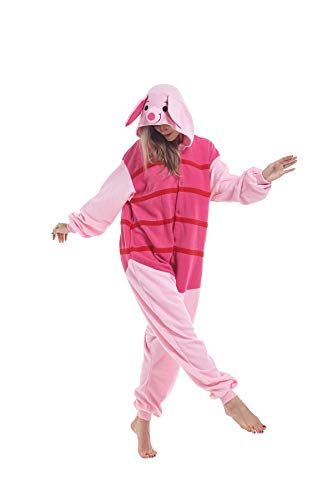 Piglet Costume Teenager (Zinuods Adult Piglet Pig Animal Onesie Costume Pajamas for Adults and Teens)