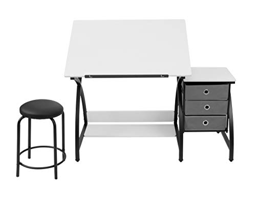 "SD Studio Designs 13326 Comet Center with Stool, Black/White, 50""W x 23.75""D x 29.5"" H,"