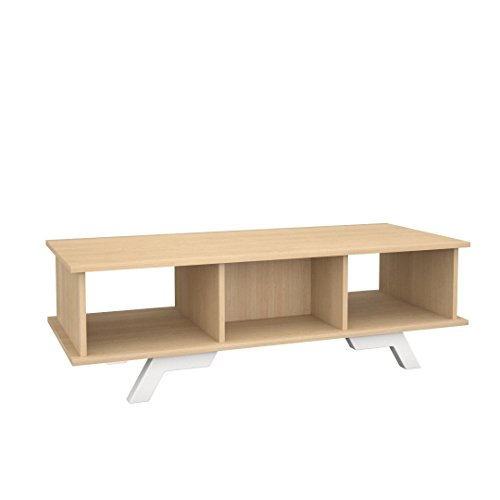 Nexera 104239 Stiletto Coffee Table, Natural Maple & White (Tv Stand Maple Modern)