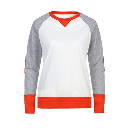 URIBAKE Women Fashion Long Sleeve Basic Loose Patchwork Blouse T-Shirt ()