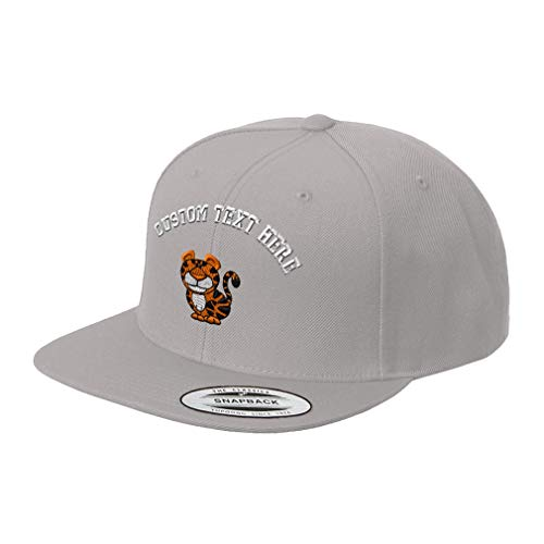 - Custom Text Embroidered Cute Tiger Unisex Adult Snaps Acrylic Structured Flat Visor Snapback Hat Cap - Silver, One Size
