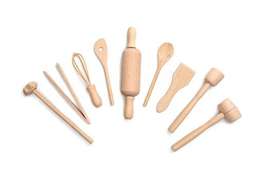 Fox Run 4932 Kids Cooking/Baking Tools Set, Wood, 9-Piece