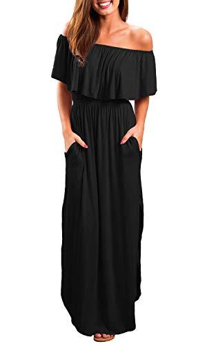 OYANUS Womens Off The Shoulder Ruffles Pockets Dress Side Split Maxi Dresses Black M