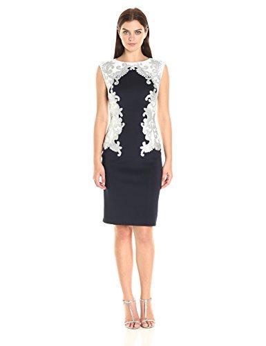 - Tadashi Shoji Women's Neoprene with Sequin Detail Dress, Navy/Silver, L