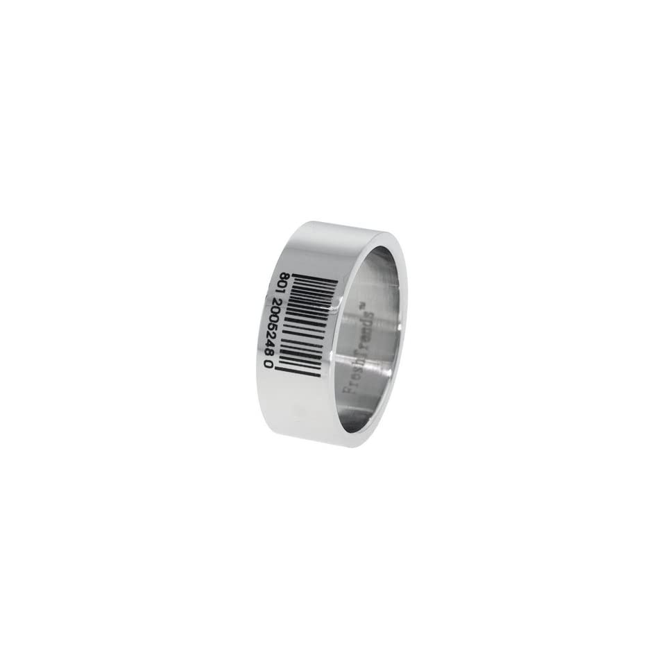 Barcode Laser Engraved Mens Stainless Steel Ring  Size 9 Jewelry