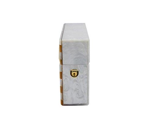 Bag Rectangle Bags Handbags White Fight Shoulder Womens The Acrylic Take Stripe Bag Messenger Dinner Bag H1w7p
