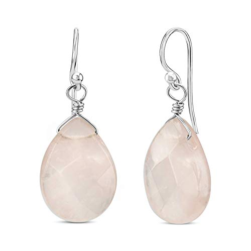FRONAY Natural Gemstone Rose Quartz Dangle Drop Earrings - Handmade Sterling Silver Jewelry for Women