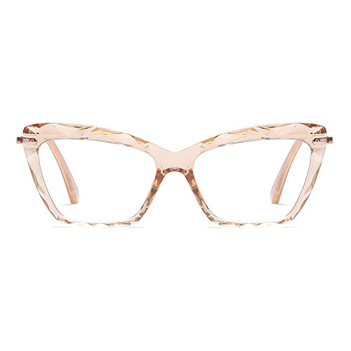 Fashion Cat Eye Style for Women Glasses Frame Crystal Non Prescription Eyewear Clear Lens-can Replace the Prescription Lens ()