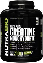 NutraBio 100% Pure Creatine Monohydrate Powder - 2500 Grams - HPLC Tested, Micronized, Unflavored, No Additives or Fillers, GMP. Post Workout Muscle Building Supplement. by NutraBio
