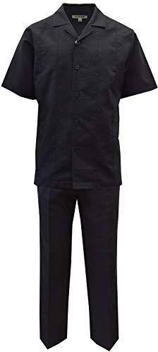 STACY ADAMS Men's Solid Linen Shirt & Pant Set (3XL, Black)