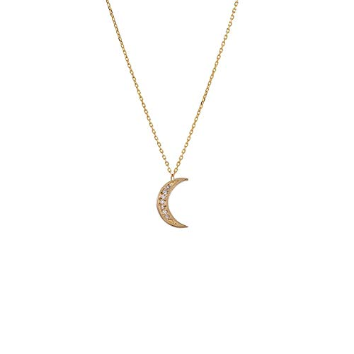 TousiAttar Diamond Moon Necklace -14k Stud Yellow white Rose Gold - Half Moon Pendant - Cute Jewelry Gift for Women