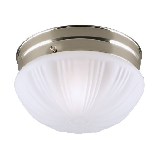 Fluted Glass One Light - Westinghouse 6720900 One-Light Flush-Mount Interior Ceiling Fixture, Brushed Nickel Finish with Frosted Fluted Glass