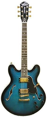 Oscar Schmidt OE30 Delta Blues Semi Hollow Electric Guitar, BlueBurst, OE30FBLB ()