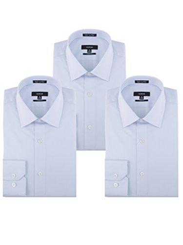 SARAR Men's 3 Pack Slim Fit Dress Shirt Point Collar Pocket Free Cotton Solid Barrel Cuff Blue Business Men by SARAR (Image #3)'