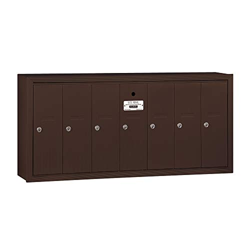Salsbury Industries 3507ZSU Surface Mounted Vertical Mailbox with USPS Access and 7 Doors, Bronze