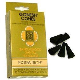 Sandalwood - Gonesh Incense Cones - Pack of 25 - incensecentral.us