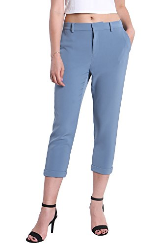 Fyriona Women's Slim Capri Cropped Tailored Trousers All Day Relax-Fit Pants Indigo L