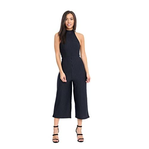 Rimi Hanger Women s High Turtleneck Zip Sleeveless Striped Wide Leg  Trousers Ladies Jumpsuit 60%OFF 860eec5d1
