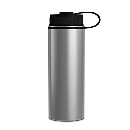 (GEO 18oz Double Wall Vacuum Insulated Stainless Steel Leak Proof Sports Water Bottle, Wide Mouth w/BPA Free Screw Cap (Stainless Steel))