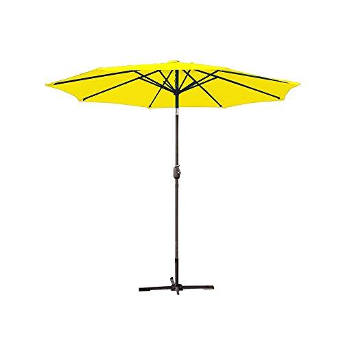 Jeco UBP95-UBF93 Aluminum Patio Market Umbrella Tilt with Crank Fabric Grey Pole, 9 Yellow