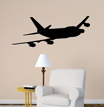 Aluckyhorseshoe Airplane Wall Decal Boeing 747 Jet Aircraft Vinyl Wall  Sticker Office Aviation Room Decor College