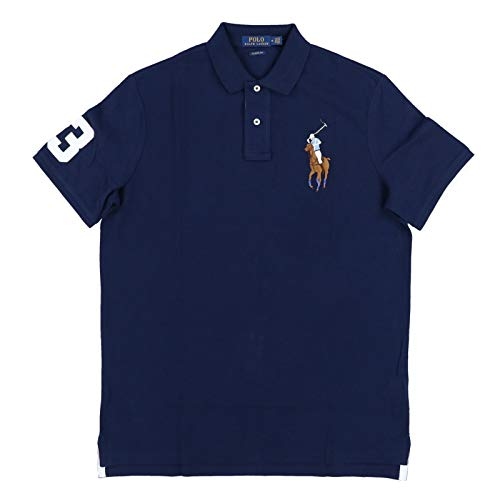 Polo Ralph Lauren Mens Classic Fit Big Colored Pony Polo Shirt (Large, Navy)