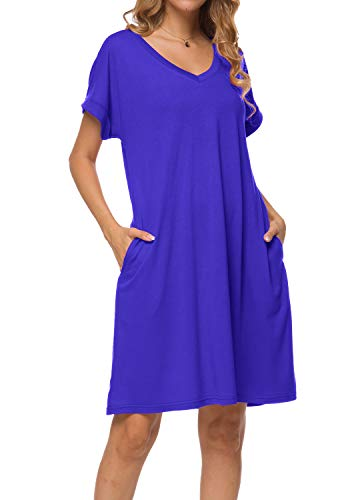peassa Women Summer Plain Short Sleeve Casual Loose Pockets T Shirt Dress Blue M