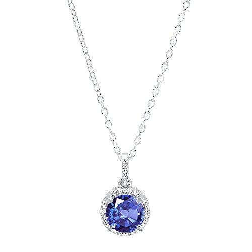 Dazzlingrock Collection 14K 6.5 MM Round Tanzanite & Round White Diamond Ladies Halo Pendant, White Gold