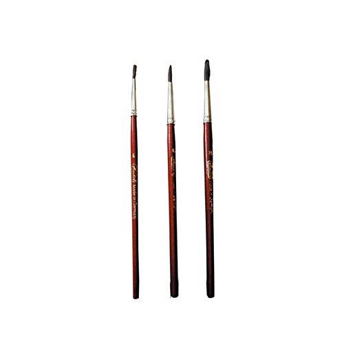Herlitz Haarpinsel, Stärke: 4, 6 und 8, 3 Stück, holz lackiert/metallzwinge