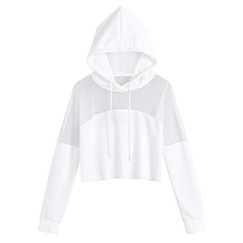 Lunga Camicetta Casual Scollo shirt Felpe Bianco Boho V Camicia Manica T Solid Banaa In Maglietta Con A Donna Top Cappuccio Prospettiva Cime 67wREqO