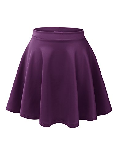 MBJ WB211 Womens Basic Versatile Stretchy Flared Skater Skirt XL Eggplant ()