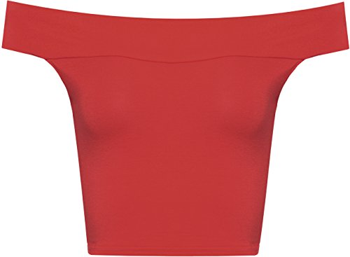 WearAll Women's Off Shoulder Plain Short Crop Bandeau Open Cowl Neck Top - Red - US 8-10 (UK 12-14)