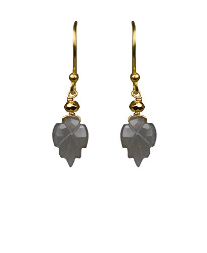 Grey Moonstone Drop Vermeil Earrings