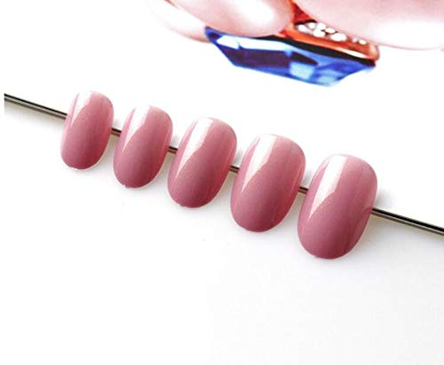 - 100Pcs False Short Oval Full Cover Nail Tips Candy Colors Brown Cherry Wine Red Artificial Kids Fake Nails 44